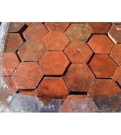 Tomettes hexagonales 16 cm teintes rouges